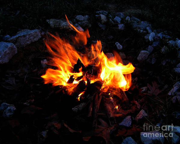 Campfire Art Print featuring the photograph Campfire by Boon Mee
