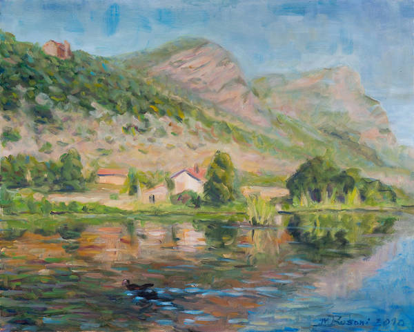 Water Reflection Landscape Italy Pond Dunk Impression Sun Sunny Art Print featuring the painting Capodifiume by Marco Busoni