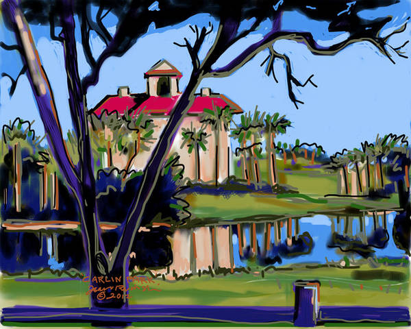 Lake Art Print featuring the painting Carlin Park by Jean Pacheco Ravinski