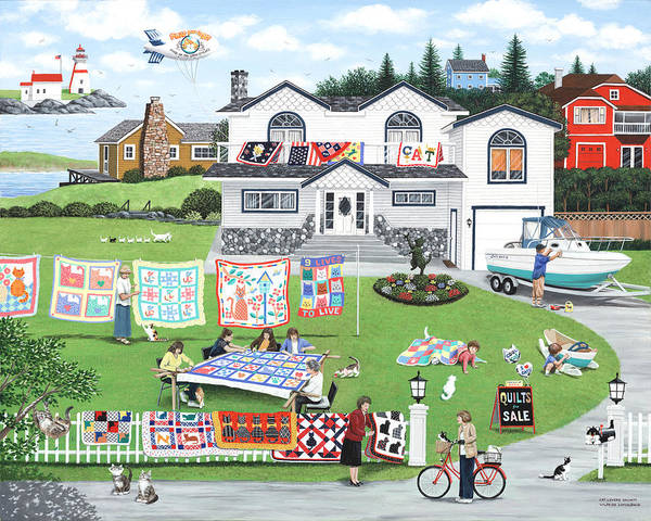 Naive Art Print featuring the painting Cat Lovers Society by Wilfrido Limvalencia