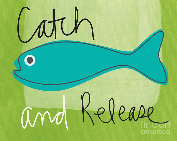 Fishing Art Print featuring the painting Catch And Release by Linda Woods