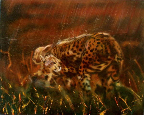 Rain;water;cats;africa;wildlife;animals;mother;shelter;brush;bush Art Print featuring the painting Cheetah Family After The Rains by Sean Connolly