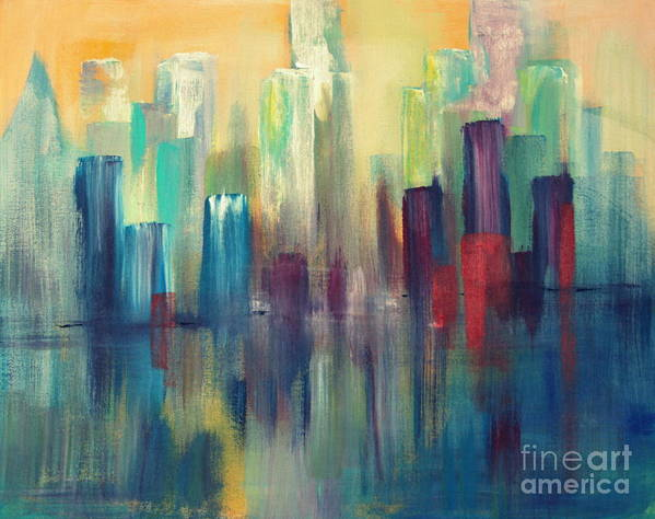 Sailboats And Abstract 2 Art Print featuring the painting Chicago A Reflection by Julie Lueders