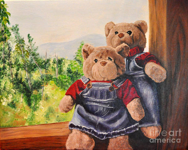 Bears Art Print featuring the painting Chick And Dude by Jane Steelman