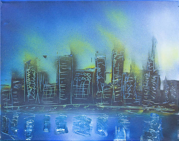 City Art Print featuring the painting City Spray II by Kevin McQuade