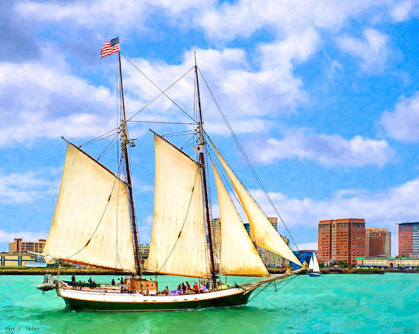Boston Harbor Print featuring the photograph Classic Tall Ship In Boston Harbor by Mark E Tisdale
