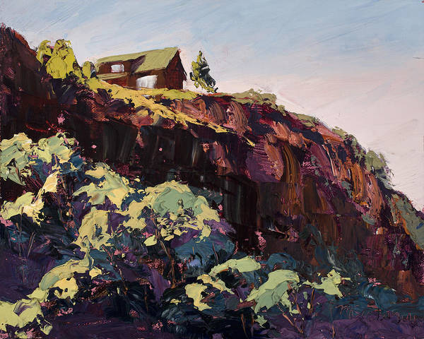 Plein Air Art Print featuring the painting Cliff Hanger by Mary Giacomini