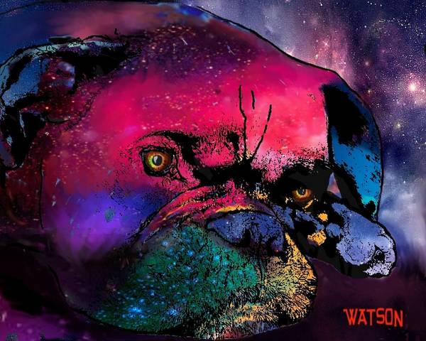 Boxer Prints Art Print featuring the digital art Contemplative Boxer Dog by Marlene Watson