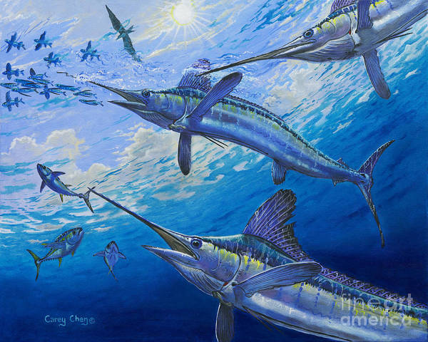 White Marlin Art Print featuring the painting Covered Up Off0035 by Carey Chen