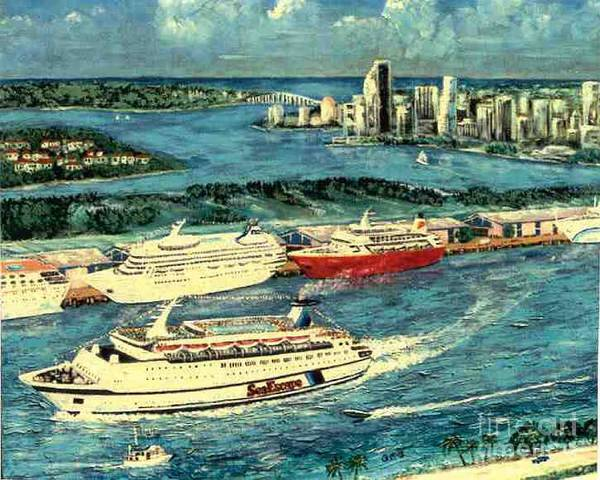 Miami Florida Art Print featuring the painting Cruising Miami by George I Perez