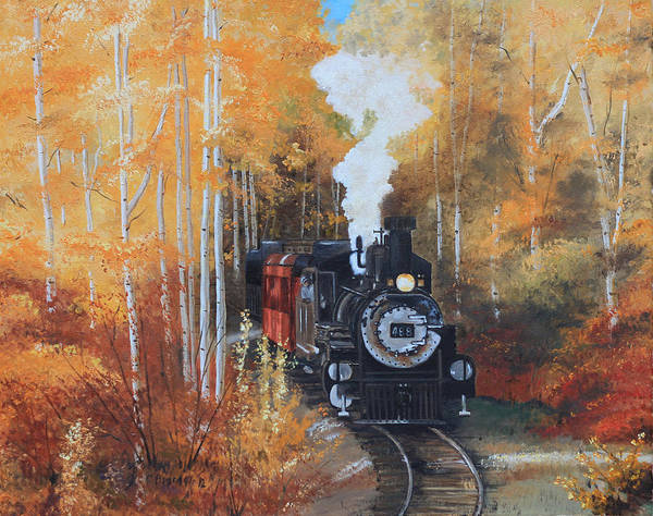 Steam Train Cumbres And Toltec Black Old Locamotive Train South West Fall Quaking Birch Aspens Aspen Birch Trees Landscape Woods Autumn Fall Yellow Orange Red Steam Blue Sky Cecilia Brendel Art Print featuring the painting Cumbres And Toltec Railroad Steam Train by Cecilia Brendel