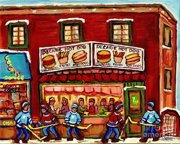 Montreal Art Print featuring the painting Decarie Hot Dog Restaurant Cosmix Comic Store Montreal Paintings Hockey Art Winter Scenes C Spandau by Carole Spandau