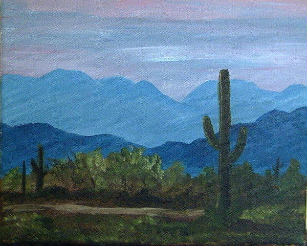 Desert Art Print featuring the painting Desert Evening by Judi Pence