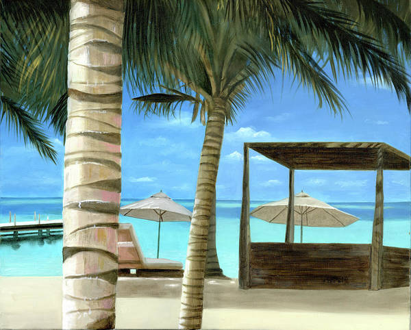 Bahamas Original Oil Painting Ocean Water Front Beach Turks Caicos Palm Trees Umbrellas Sea Side Cruise Ship Cecilia Brendel On Canvas Cabana Order Your Prints Today On Fine Art America Cecilia Brendel Art Print featuring the painting Destiny Turks And Caicos by Cecilia Brendel