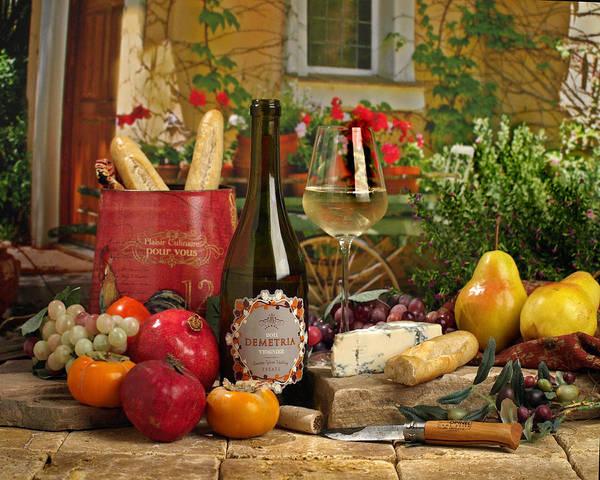 Wine Art Print featuring the photograph Dimetria Viognier by Mel Felix