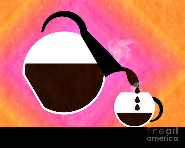 Coffee Art Print featuring the digital art Diner Coffee Pot And Cup Sorbet Pouring by Andee Design