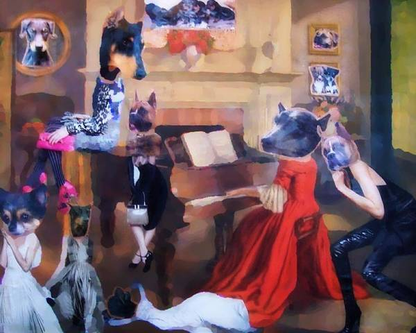 Doberman Art Print featuring the painting Dogs Heads On Beautiful Women by Lisa Piper