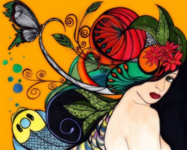 Abstract Art Print featuring the drawing Dream In Color by Anja Partin