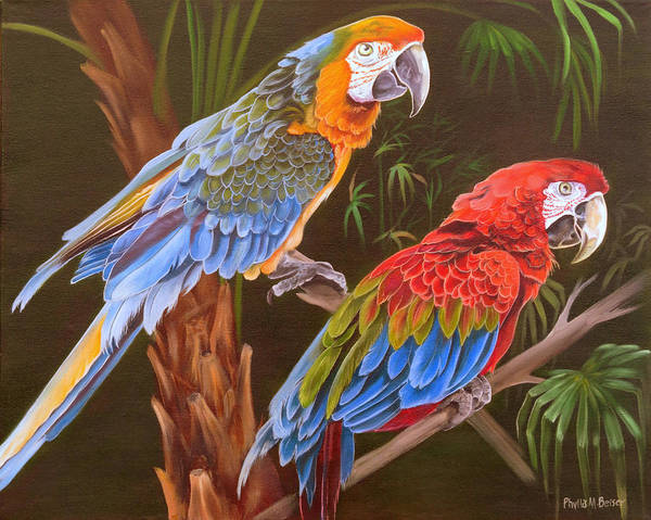 Birds Print featuring the painting Dynamic Duo by Phyllis Beiser