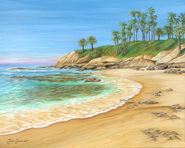 Beach Art Print featuring the painting Early Morning Laguna by Jane Girardot