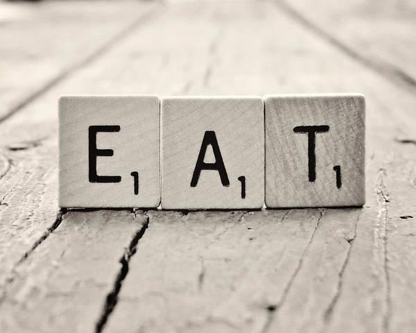 Eat Scrabble Photograph Art Print featuring the photograph Eat by Amanda Dunlap