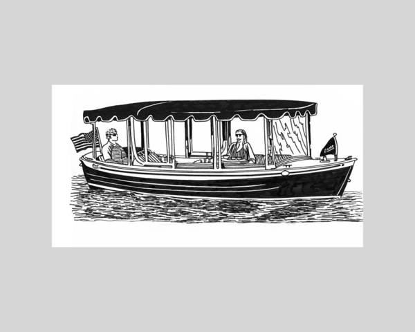 Ink Drawings By Jack Pumphrey Of Yacht Print featuring the drawing Electric Harbor Launch by Jack Pumphrey