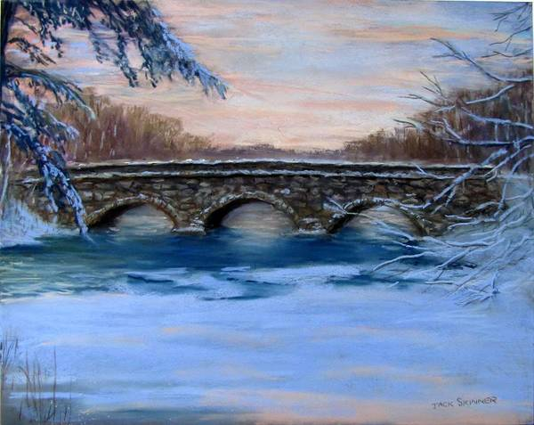 Concord. Winter Print featuring the painting Elm Street Bridge On A Winter's Morn by Jack Skinner