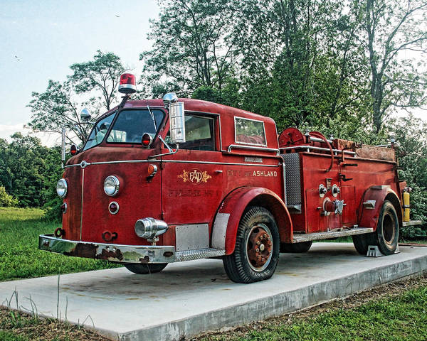 Firetruck Art Print featuring the photograph Engine Number One by Teresa Dunlap