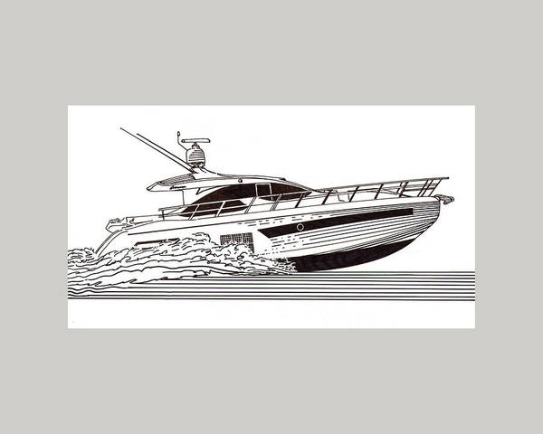 Yacht Portraits Art Print featuring the drawing Express Sport Yacht by Jack Pumphrey