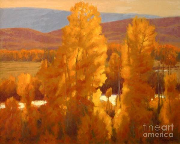 Landscape Paintings Art Print featuring the painting Fall Backlight by Doyle Shaw