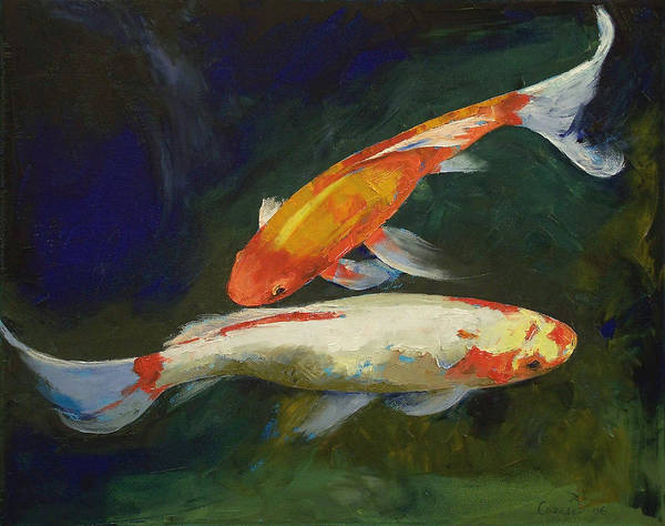 Feng shui koi fish art print by michael creese for Koi fish paintings prints