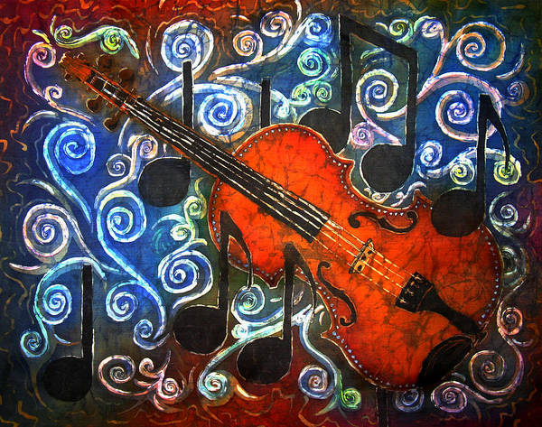 Fiddle Art Print featuring the painting Fiddle - Violin by Sue Duda