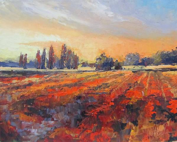 Landscape Art Print featuring the painting Field Of Light Oil Painting by Chris Hobel