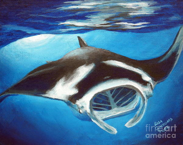 Manta Ray Art Print featuring the painting Filtering For Food by Lisa Pope