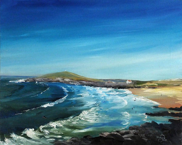 Seascape Art Print featuring the painting Fistral Bay Cornwall by Tony Hogan