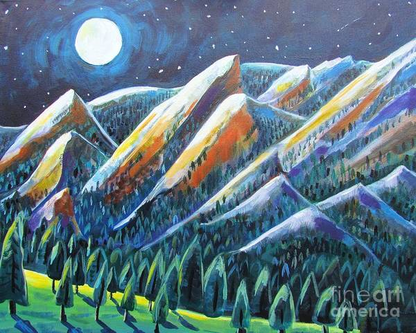 Night Art Print featuring the painting Flatirons In The Moonlight by Harriet Peck Taylor