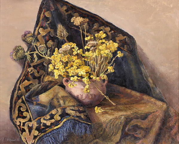 Still Life Print featuring the painting Flowers Immorteles by Meruzhan Khachatryan