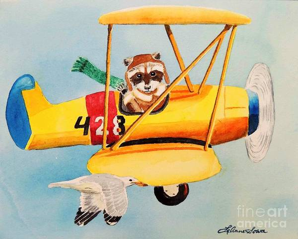 Biplane Print featuring the painting Flying Friends by LeAnne Sowa