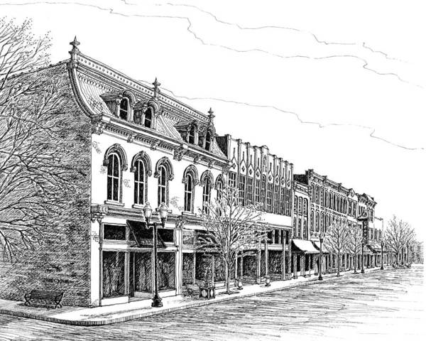 Pen And Ink Drawing Art Print featuring the drawing Franklin Main Street by Janet King