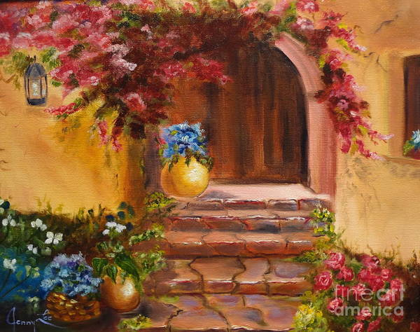 Garden Scene Art Print featuring the painting Garden Of Serenity by Jenny Lee