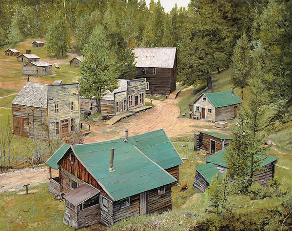 Ghost Town Art Print featuring the painting Garnet In Montana by Guido Borelli