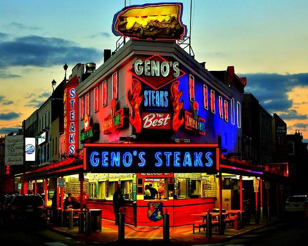 Genos Art Print featuring the photograph Geno's Steaks by Benjamin Yeager
