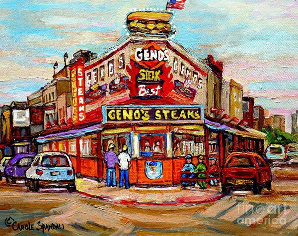 Geno's Steaks Art Print featuring the painting Geno's Steaks Philadelphia Cheesesteak Restaurant South Philly Italian Market Scenes Carole Spandau by Carole Spandau