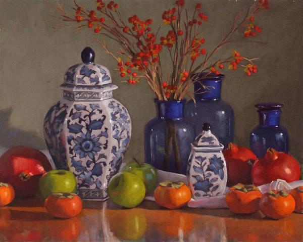 Ginger Jars Art Print featuring the pastel Ginger Jars by Sarah Blumenschein