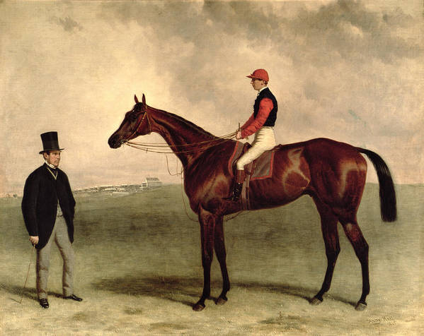 Top Hat Print featuring the painting Gladiateur With Harry Grimshaw Up And His Owner Count Frederic De Lagrange by Harry Hall