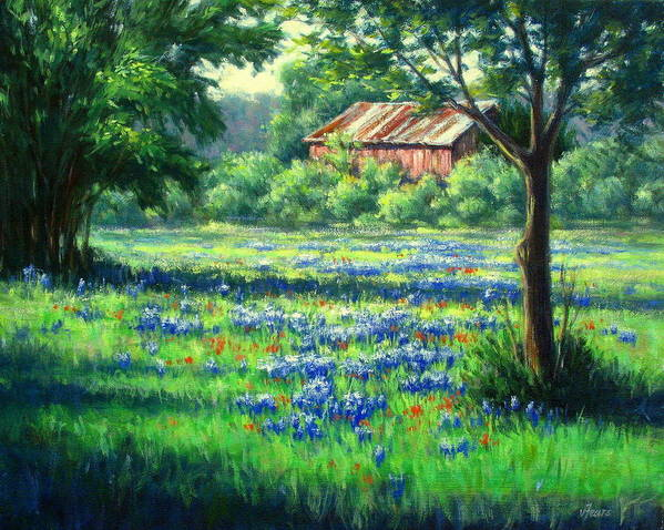 Vickie Fears Print featuring the painting Glen Rose Bluebonnets by Vickie Fears
