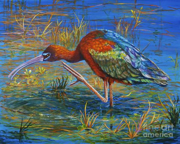 Migration Art Print featuring the painting Glossy Ibis by AnnaJo Vahle