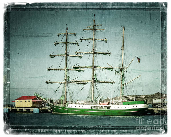 Ship Art Print featuring the photograph Green Sail by Perry Webster