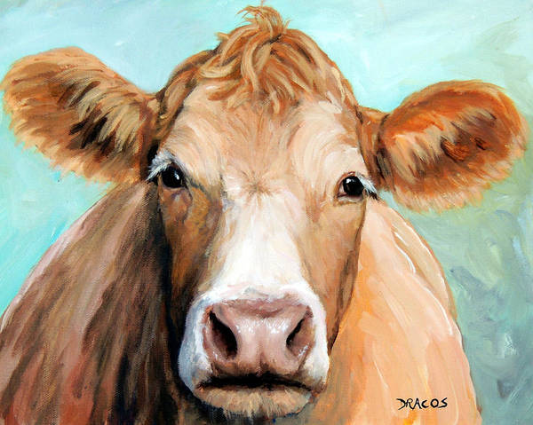 Cow Art Print featuring the painting Guernsey Cream Cow On Light Green by Dottie Dracos