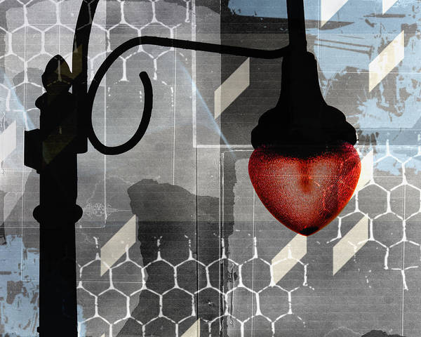 Street Light Art Print featuring the digital art Heart Light by Mary Sweeney